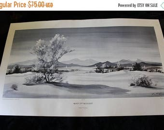 Summer Sun Sale Mid Century Evelyn E. McGinnis Black and White Lithograph - No. 35 Heart of the Desert, Private Collection