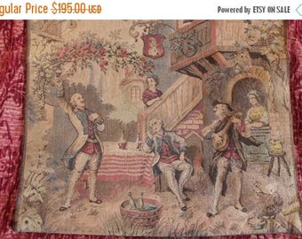 SALE Antique Belgium Cloth Tapestry Wall Hanging with Colonial Scenery and Minstrels
