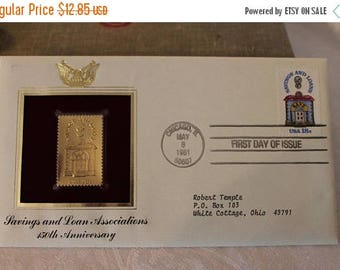 SALE 1981 First Day Issue Gold Replica stamp, Savings and Loan Associations 150th Anniversary Sealed