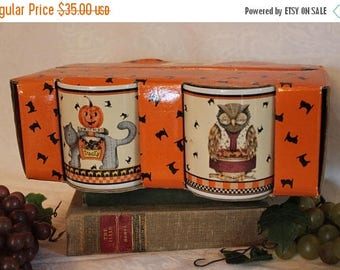 SALE Debbie Mumm Halloween Stoneware Coffee Mug Set - 2 Owls, 1 Cat, and 1 Raccoon