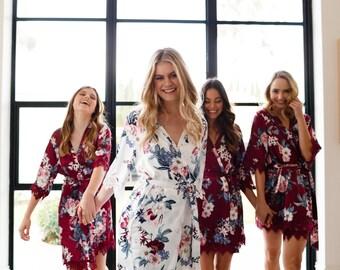 Bridesmaid Robes // Robe // Bridal Robe // Bride Robe // Bridal Party Robes // Bridesmaid Gifts // Satin Robe // Lace Bridal Robe //Gemstone