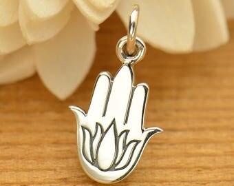 Sterling Silver Lotus Hamsa Charm