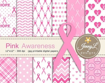 50% OFF Breast Cancer Awareness Digital Papers, Pink Ribbon Digital Papers, heart, hope