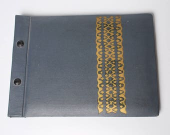 Vintage big photo album with leather imitation cover (CI643)