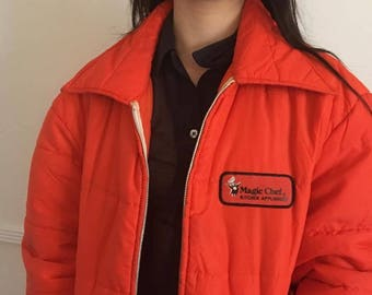 Vintage 90s Master Chef Orange Puffy Jacket