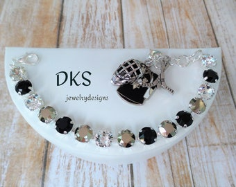 Pittsburgh Penguins Championship bracelet,Swarovski,Black And Gold,Hockey,Sports Jewelry,DKSJewelrydesigns, FREE SHIPPING