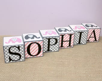 Baby Name Cube, Personalized Name Letter Blocks, Baby Shower Gift, Elephant Theme Nursery Decoration, Wooden Cube, 3x3x3 Baby Blocks