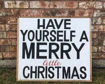 Rustic Wood Framed Have Yourself a Merry Little Christmas Wall Decor