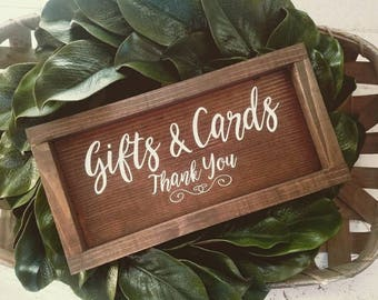 Gifts and cards thank you wedding sign, gift table sign, card table sign, wood wedding signs, wedding decor, gifts and cards, framed sign