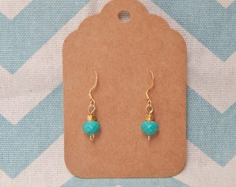 Dainty Turquoise  and Gold Earrings