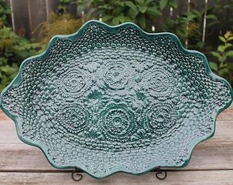 Rainforest Green Oval Doily Platter, Doily Platter, Dessert Platter, Salad Platter, Appetizer Platter