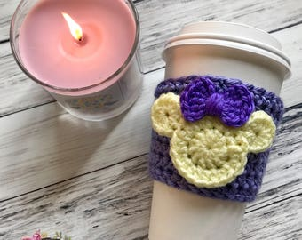 "The ""Minnie Violet Lemonade"" Cozie / Cozies / Coffee Cozie / Tea Cozie / Tumbler Cozie / Crochet Cozie"