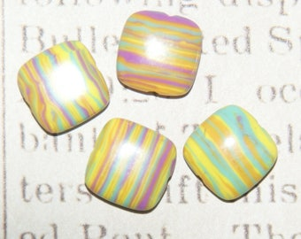 2 beads streaked pink and yellow 12x12x5mm howlite bead
