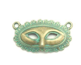 Connector bronze verdigris metal 18x33mm Venetian mask