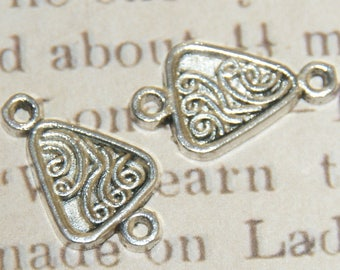 2 triangle and ethnic designs 22x12mm silver metal connectors