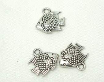 3 small silver-plated 13x12mm tropical fish charms