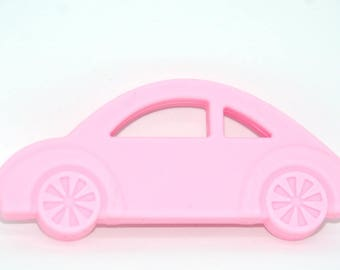 Pink car 103x46x10mm teething ring