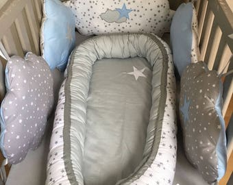 Babynest, printed white baby nest grey and white stars