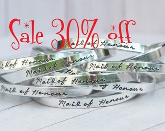 Sale 30% off - Maid of Honour Hand Made Hand Stamped Cuff bracelet - Bridesmaids, Flower Girl, Maid of Honour Gifts | Wedding Party Gifts