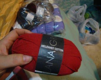 yarn lana grossa meilenweit cotton -red