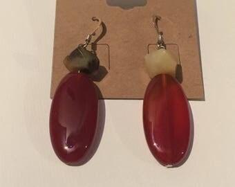 Carnelian and Flower Jade stone drop earrings
