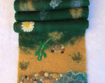 Wool scarves handmade wool scarf felted scarf nuno felted scarf wool felted scarf green warm nature Nuno felt water OOAK unique blue flower