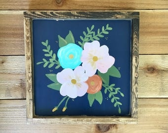 Floral Hand Painted Wood Sign
