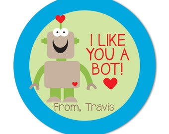 Robot Valentine Treat Bag Favor Stickers, Personalized Valentine Day Stickers, I Like you a Bot, Boys Valentine Stickers for school