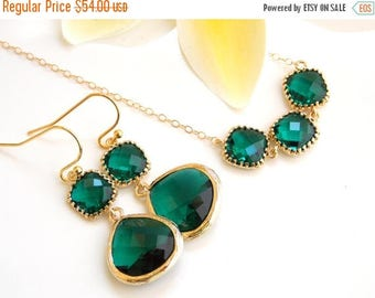 SALE Wedding Jewelry, Emerald Earrings and Necklace,Dark Green, Gold Filled, Bridesmaid Gifts, Bridesmaid Jewelry, Dangle, Pendant Set, G