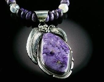 Rare Charoite Navajo Pendent Necklace