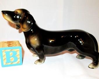 Vintage KERAMOS DACHSHUND DOG Figurine Vienna Austria Glossy Black & Tan Hand Painted Ceramic Dog Weiner Gift