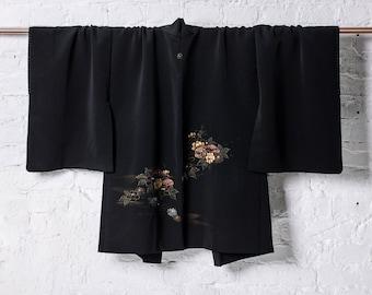 Vintage Hand Painted Black Fuji Silk Japanese Kimono Jacket Haori