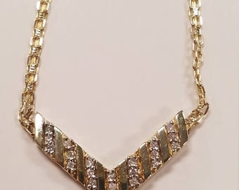 Gold and Diamond Chevron Necklace