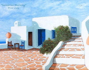 Santorini wall Art/ blue/shutters/gate/door/patio/ made by Artist/canvas & paper/prints of  paintings/ Realism/standard-size/sea/clouds/pots