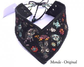Cotton lace leather Choker Victorian black textile necklace