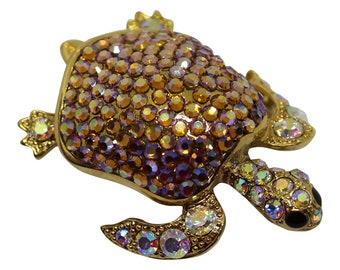 Fabulous Crystal Sea Turtle Brooch/Pin Signed Suzanne Bjontegard Vintage 1990 Sea Turtle Conservatory Sea Life  Brooch Rhinestone Turtle Pin