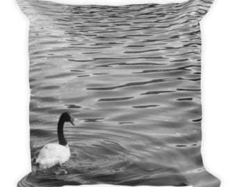 Black and White Swan Square Pillow