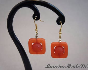 Orange earrings with Rhinestones