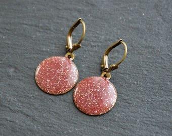 Pastilles orthensia pink glitter resin earrings