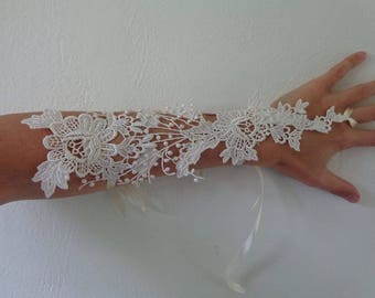 mitten available ivory lace on the wedding