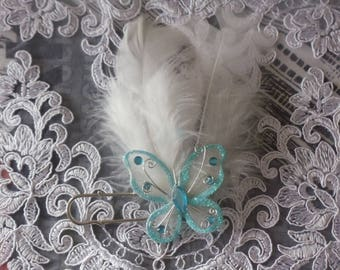 attached train blue feather butterfly wedding shawl