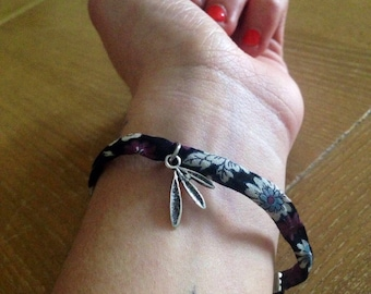 CLEARANCE - Liberty black flower and Silver Charm Bracelet