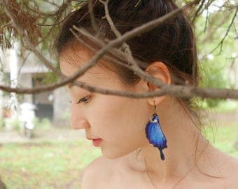 Embroidery Butterfly Tails Earring / Ulysses Butterfly ( Papilio Ulysses )