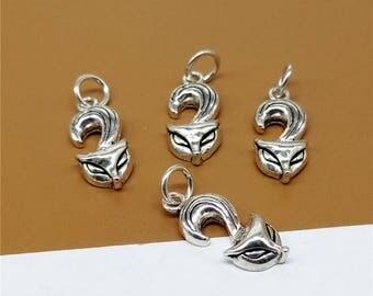 6 Sterling Silver Fox Charms, Sterling Silver Fox Pendants, 925 Sterling Silver Fox Necklace Charm, Sterling Animal Charms - LA141