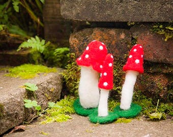 Needle Felt Fibre Art Enchanted Toadstools