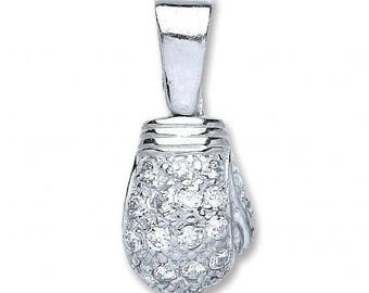 925 Sterling Silver Cz Boxing Gloves Pendant