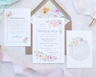 Wedding Invitation - Rustic Wedding - Floral Wedding Suite - Floral Wedding Invitation Set - Summer Wedding Invite - Invitation Studio