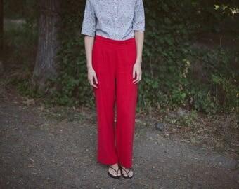 Vintage High Waist Red Pants