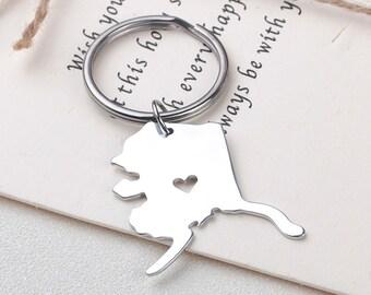I heart Alaska keychain - Alaska keyring - State Charm - Map Jewelry - Map keychain