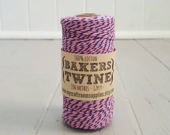 100mt roll 12ply PINK/BLUE Bakers Twine 100% cotton